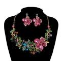 Sistemas de La Joyería Rhinestone Boda de la flor Plantas clolrful conjuntos Collar Pendientes nupciales Del Partido conjuntos de Joyería de Moda de calidad Superior