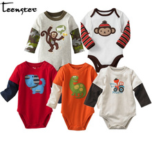Teenster Baby Girl Long Sleeve Infant Boy Bodysuit Monkey