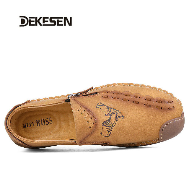Dekesen Brand Fashion Summer Style Soft Moccasins Men Loafers High Quality Genuine Leather Shoes Men Flats Gommino Driving Shoes