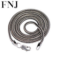 925 Sterling Silver Men Jewelry 100 Pure Silver Necklace Women Necklace Foxtail Chain Thai Silver
