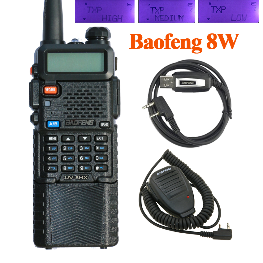 BaoFeng UV-8HX Walkie Talkie UHF VHF Dual Band UV5R CB Radio 128CH VOX Senter Dual Display FM Transceiver untuk Berburu Radio