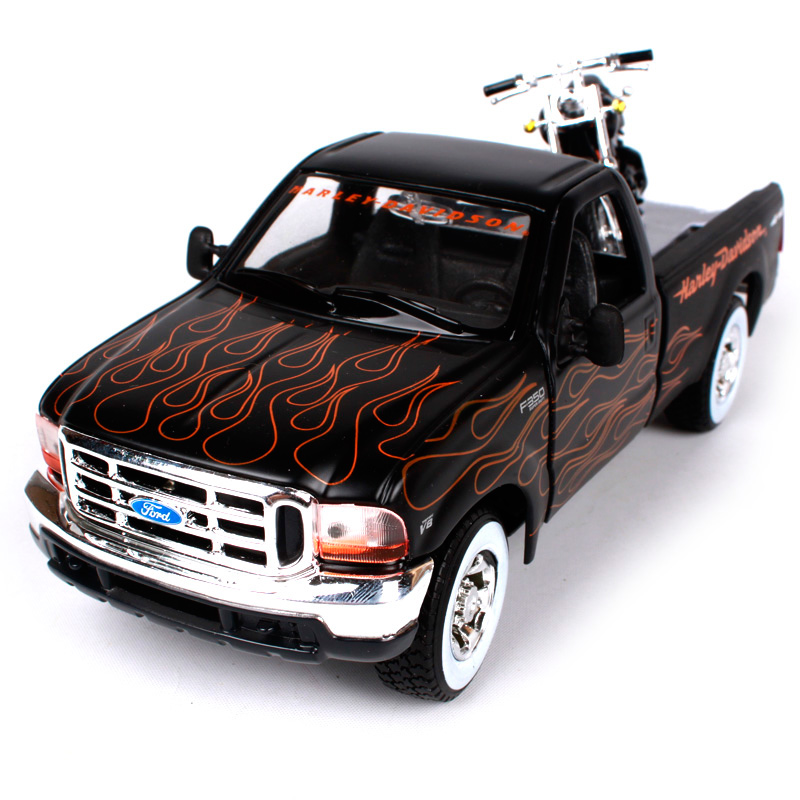 Maisto 1:27 harley ford 1999 f-350 super duty pick-up black truck model big pick up trucks diecast with a motorcycle model 32181 maisto 1 24 2017 white blue silver f 150 partor pick up truck model for ford big emulation pick up car diecast for ford 31266