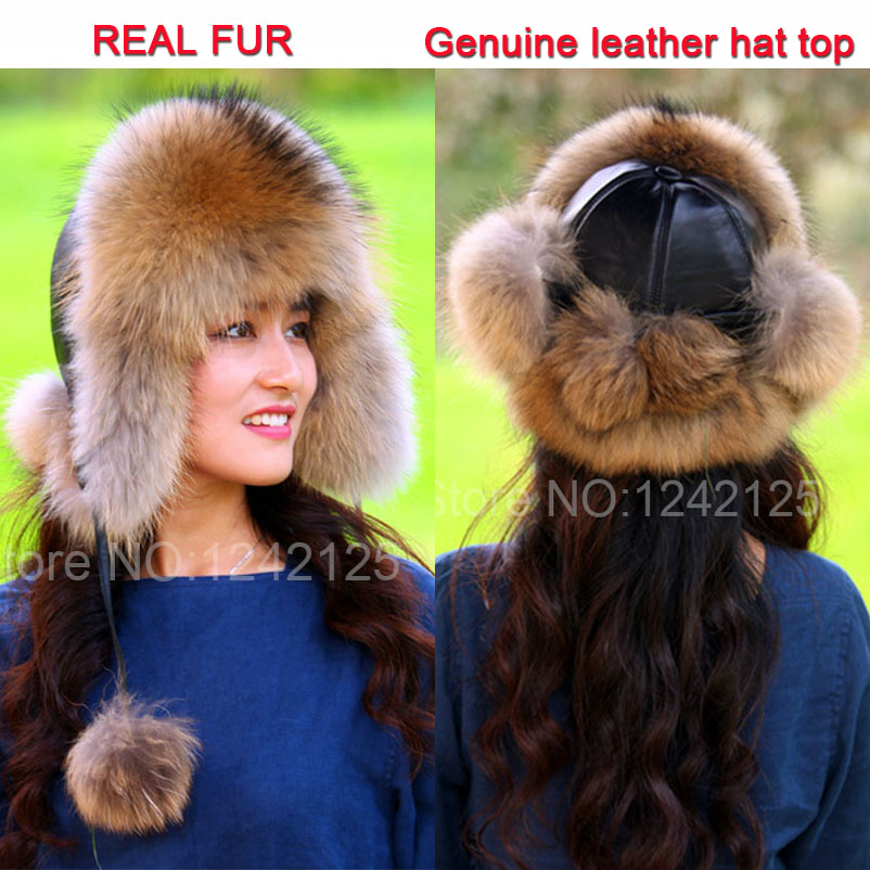 New Russia fur hat Winter girl womenReal Fox Fur Hat Parent-child Children Earmuff Warm Fur Hat pompom women Ear fox fur Hat cap