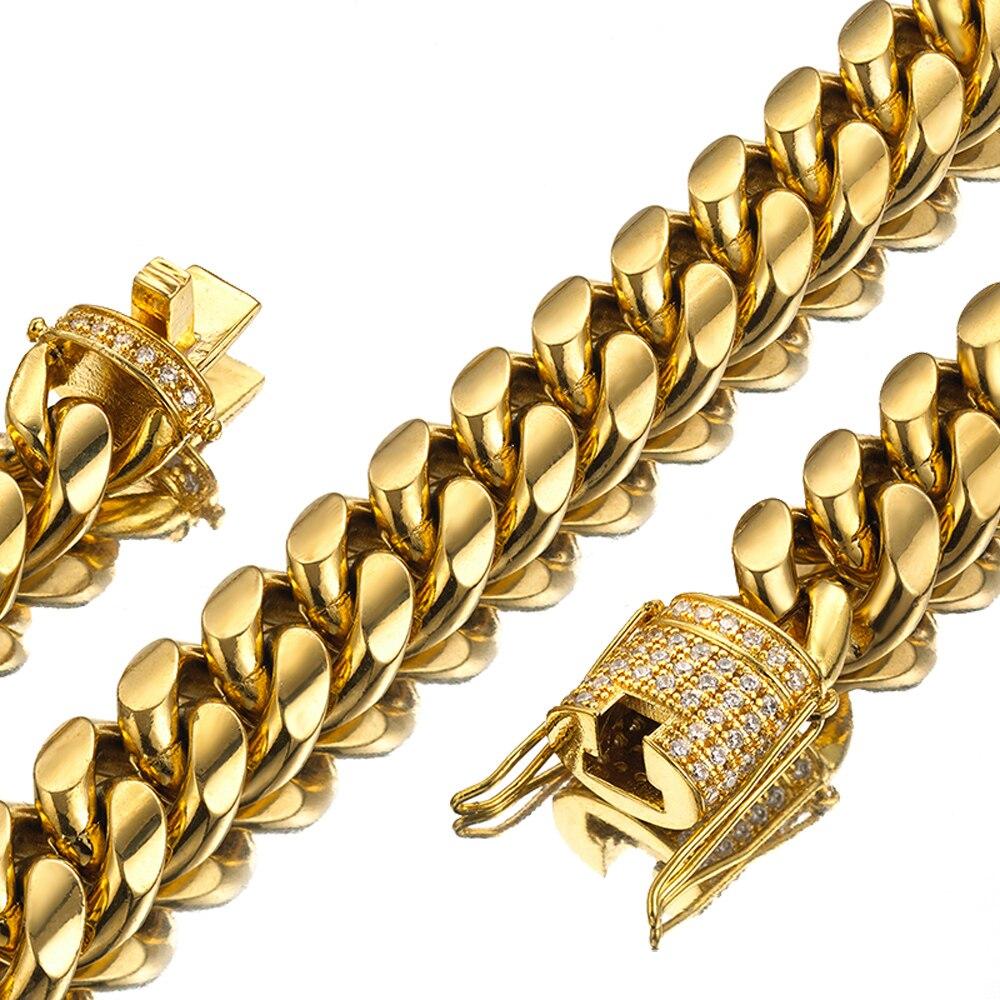 7-40 zoll Miami Curb Cuban Link Kette Für Männer 14mm Breite Halskette Oder Armband Schmuck Trendy Edelstahl stahl Gold Farbe