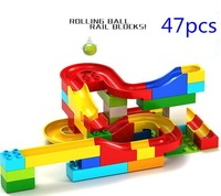 1 Set Run Rolling Ball Rail Building Blocks Bricks Trajectory Learning Education Toys Compatible Kids Toys