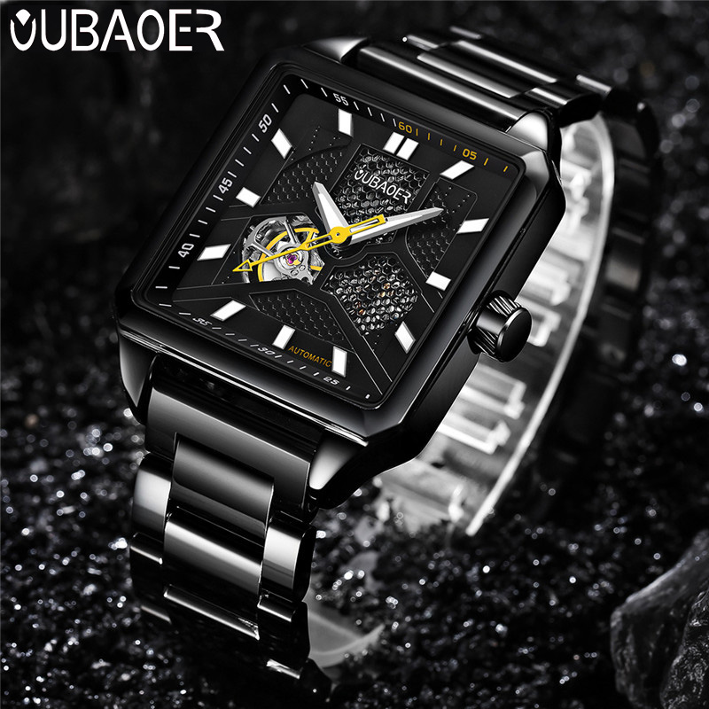 OUBAOER Automatic Mechanical Men Watch Top Brand Luxury Stainless Steel Mens Watches Square Sport Skeleton Male Clock 2003 oubaoer fashion top brand luxury men s watches men casual military business clock male clocks sport mechanical wrist watch men