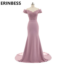 Dresses Cap-Sleeve Party-Gowns Appliques Mermaid-Bridesmaid Pink Lace V-Neck Vintage