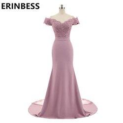Nova chegada rosa v pescoço boné manga vintage rendas apliques frisado sereia vestidos de dama de honra vestidos festa