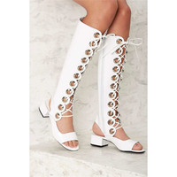 New Lace Up Open Toe Gladiator Knee High Boots White Chunky Heels Cutouts Summer Sandals Boots Slingback Party Dress Shoes Women