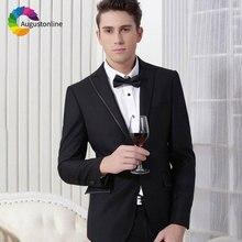 การออกแบบล่าสุด Peaked Lapel สีดำผู้ชายชุดแต่งงานชุด Slim Fit เจ้าบ่าว Tuxedo Custom Made เจ้าบ่าวชุด 2 ชิ้นเสื้อกางเกง