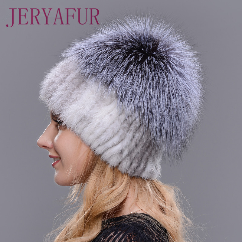 2019 offre spéciale mode hiver chaud femmes à tricoter casquettes vison chapeaux tissage Vertical avec fourrure de renard sur le dessus - 5