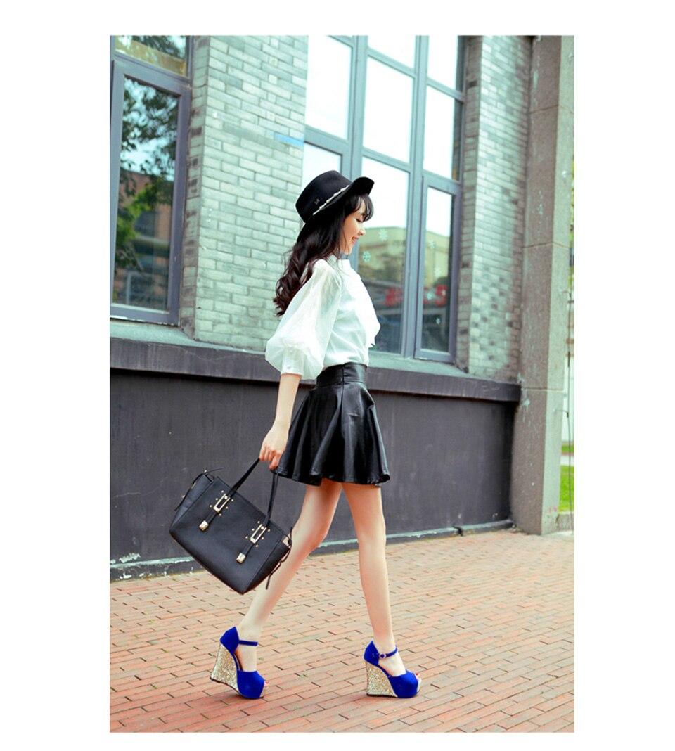 3d10699e5ed4 Peep Toe Bling 12cm 5 Inch 10 42 Pumps Ankle Strap Blue Wedge Bride ...