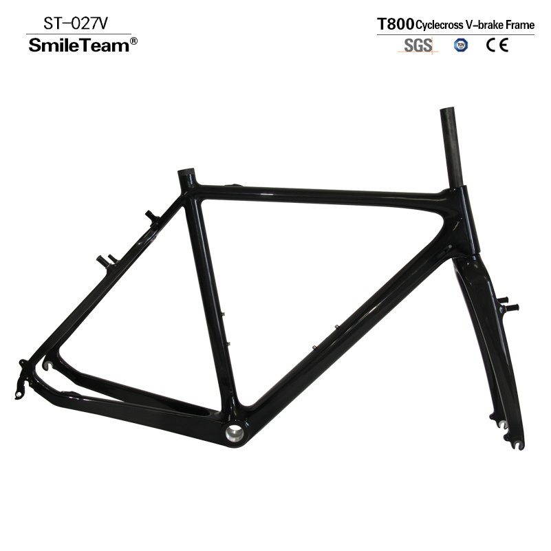 SmileTeam Carbon Road Bike Frame DI2 & Machine Carbon Cyclocross Bicycle Frameset UD Black Matte BSA 2 Year Warranty smileteam new 27 5er 650b full carbon suspension frame 27 5er carbon frame 650b mtb frame ud carbon bicycle frame