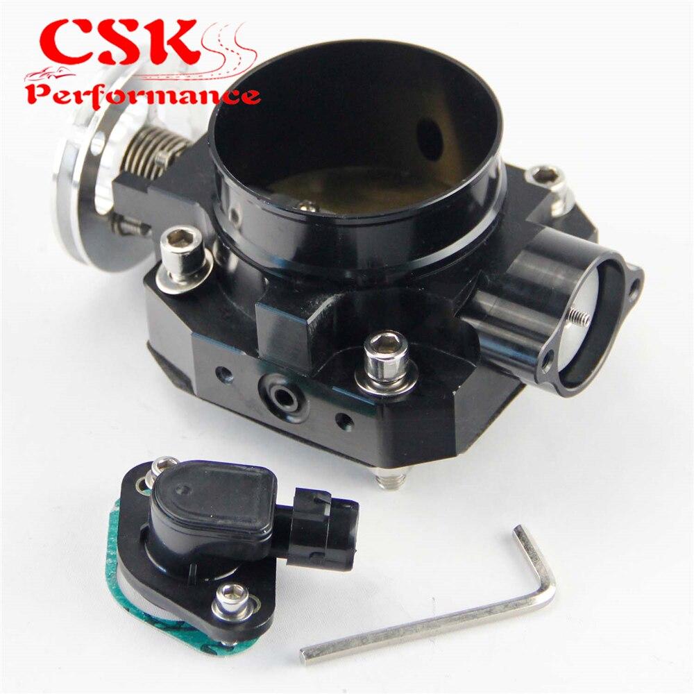 Corps d'accélérateur 70mm + capteur de Position d'accélérateur TPS pour moteur Honda B16 B17 B18 Civic ACURA Integra SI CRX GSR noir/argent