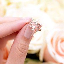Linda menina liga de zinco natureza oliveira ramo folha folhas anel aberto tamanho ajustável para mulher festa dedo jóias