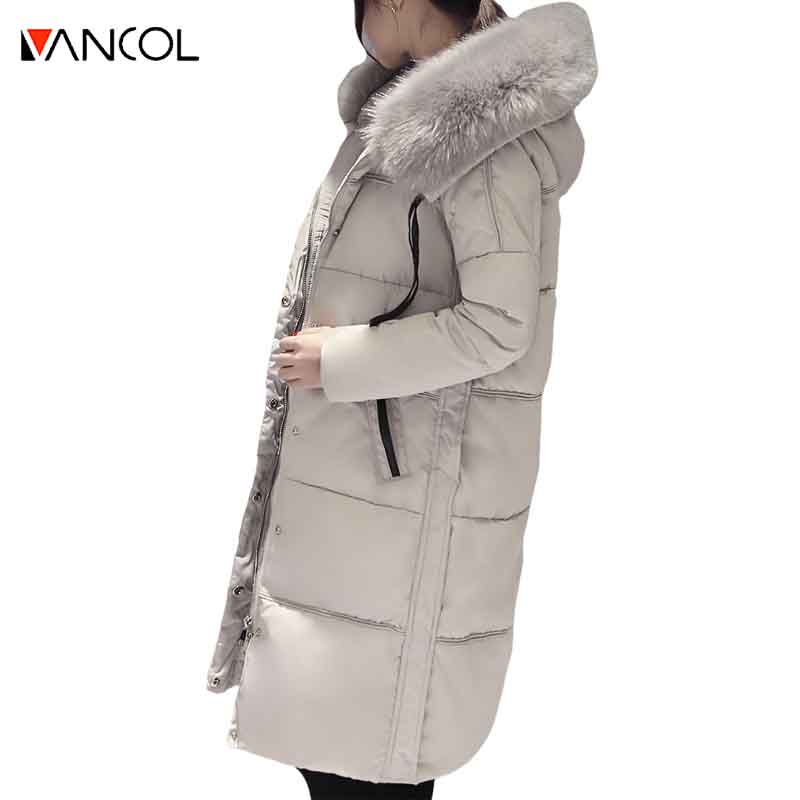 ФОТО Vancol Ladies Grey Big Fur Collar Outwear Snowcoat Female Long Winter Jacket Fur Hooded Cotton Down Parka jacket women 2016