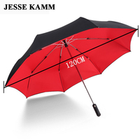 JESSEKAMM 120CM Super Big Large Fully Automatic Double Canopy Compact Strong Windproof Rain Umbrellas Men Gentle