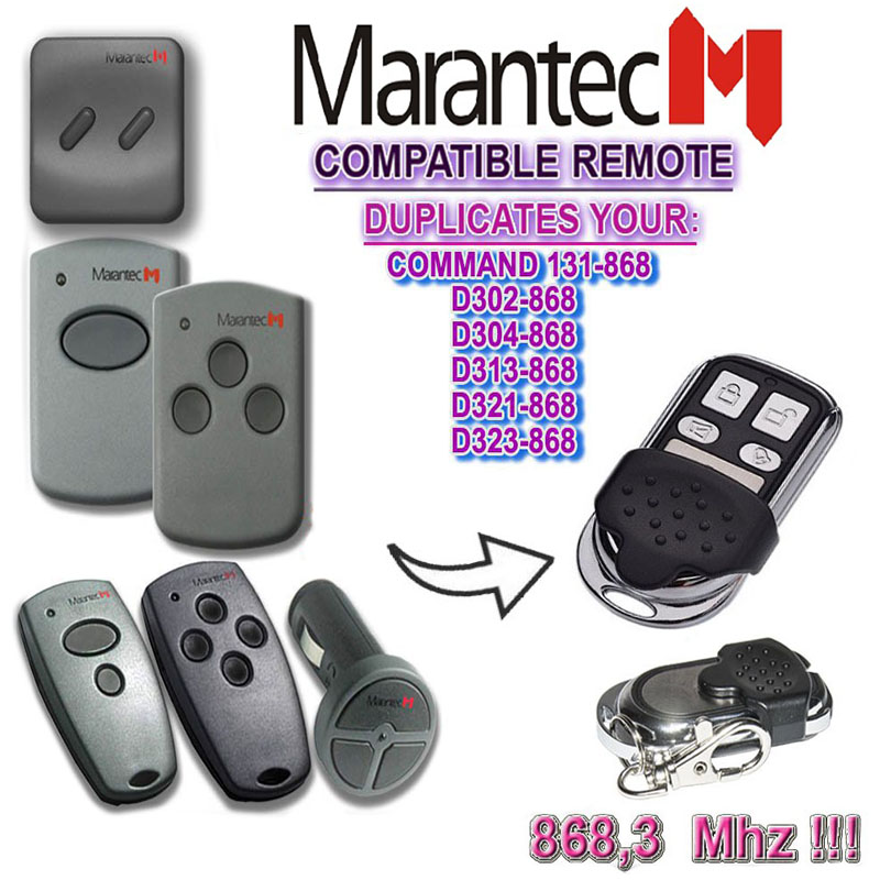 The Remote For Marantec D302-868,D304-868,D313-868,D321-868,D323-868 Duplicator Garage Door Remote 868mhz.
