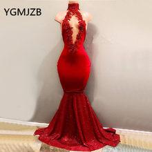 c7532dbd26b71 Seksi Kırmızı Abiye Uzun 2019 Mermaid Yüksek Yaka Sparkly Sequins Aplikler  Dantel Saten Kadınlar Örgün balo elbisesi Parti Elbis.