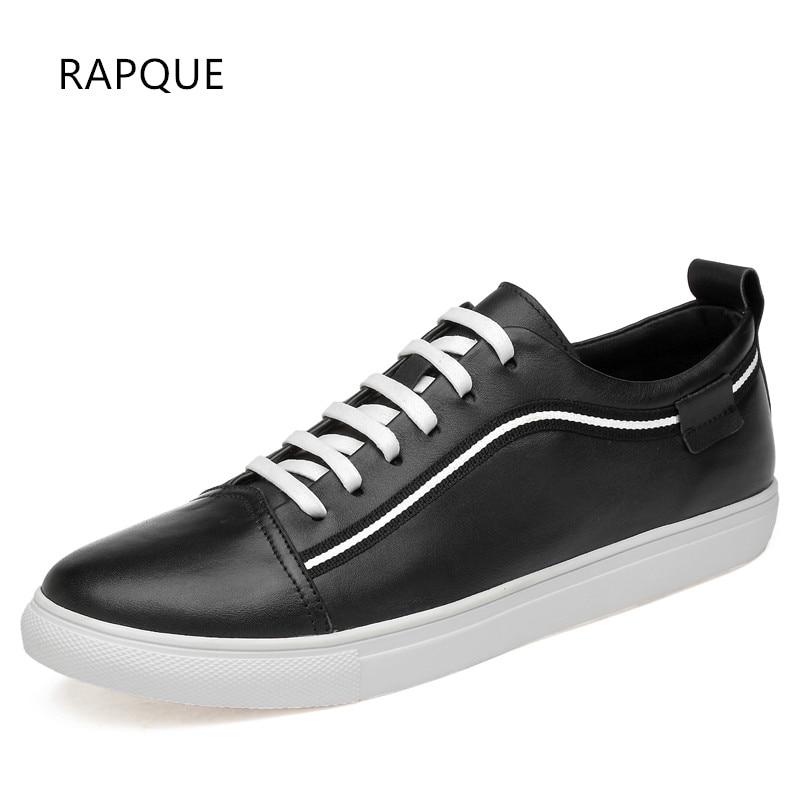 De Sneakers Cuir blanc Qualité Push Mocassins Véritable Vache All 37 En Nouvelle Rapque Casual Black white Black Haute 47 Hommes Chaussures Appartements Taille 8gqxWFSz