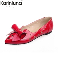 Karinluna 2018 Summer Sweet Patent Leather Women Flats Big Size 34 43 Bow Shallow Breathable Shoes