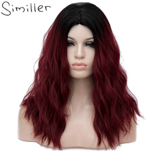 Similler 25 Colors Synthetic Ombre Black Burgundy Blue Green Wigs Short Hair for Women Water Wave False Hair 18