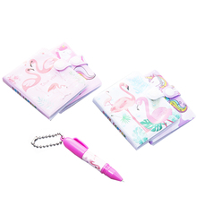 12sets/lot Small Notebook Cartoon + Ballpoint Pen Set 2 Selection Flamingo Unicorn Party Gift