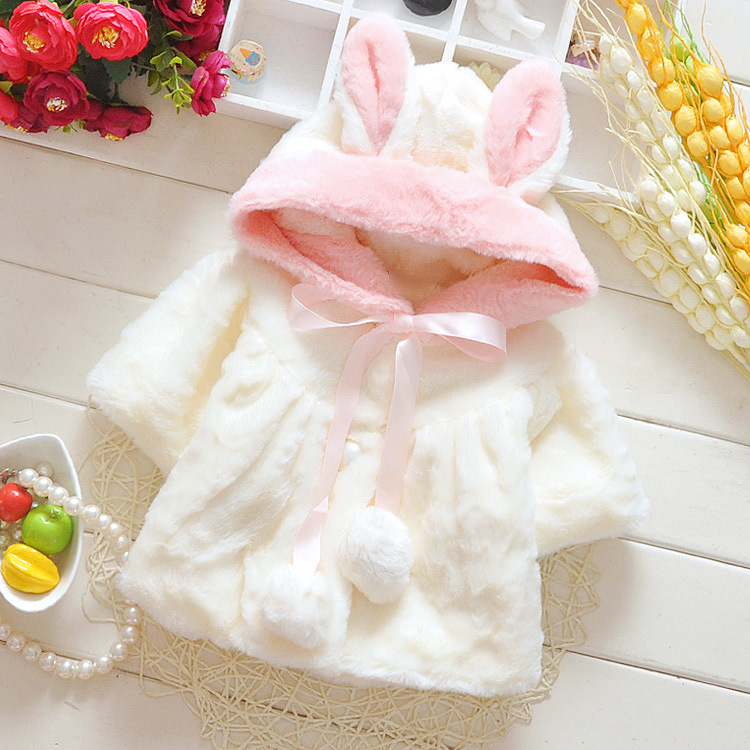 Winter Coat Lovely Solid Fashion Kids Baby Girl Clothes Christmas Girls Children Clothing Fur Ball New