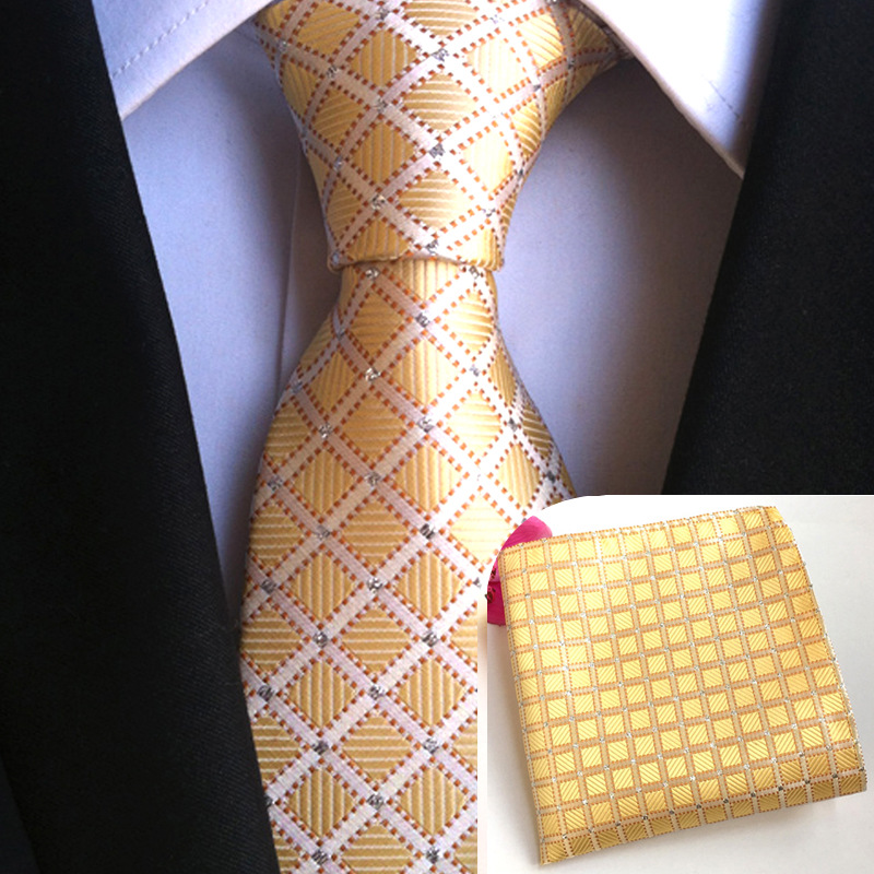 Apparel Accessories Cityraider New Gold Plaid Designer Neck Tie Mens Silk Necktie Ties For Men Neckties Pocket Square With Match Tie 2pcs Set Cr016