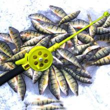Portable Mini Ice Fishing Rod 33cm Mini Size Solid Plastic Joint Shrimp Fishing Rod Winter Fishing Tackle Fishing Pole