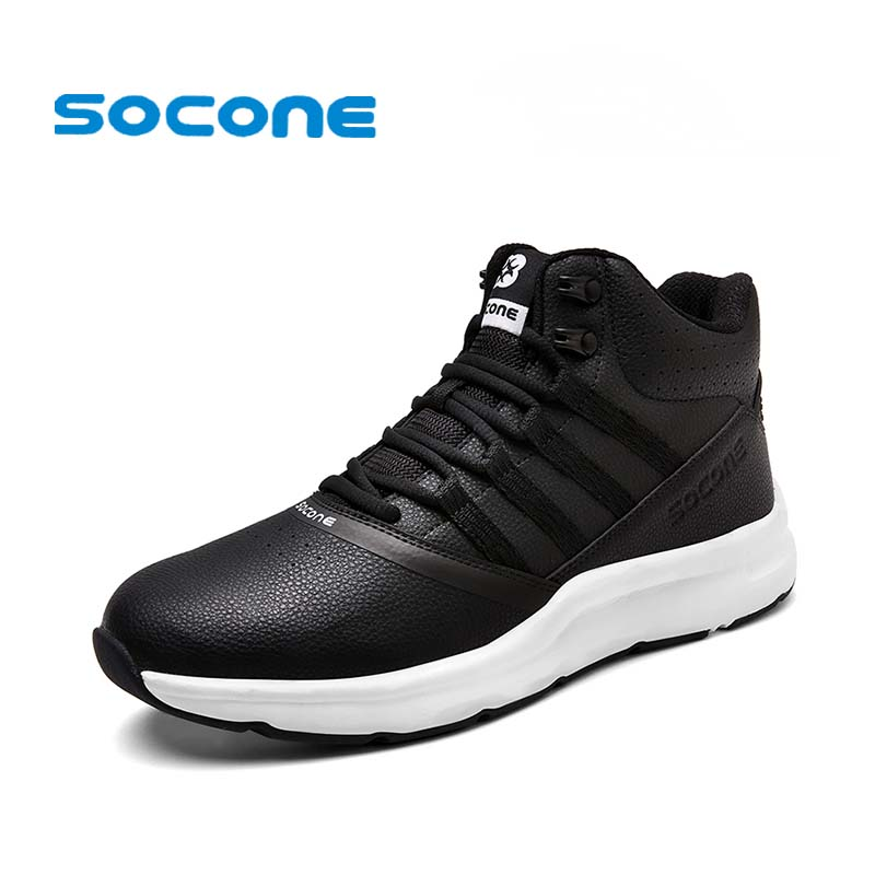 SOCONE 2017 High Top Winter Running Shoes Men Outdoor Walking Shoes Athletic Sport Sneakers Lace-up Jogging zapatillas hombre li ning new arrival skateboard boot height increasing winter high top sport shoes sneakers walking shoes men alak049 xmr1159