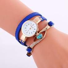 100pcs/lot mini leather strap fashion wrap around lady crtstal watch elegance quartz blue diamond wristwatch for women