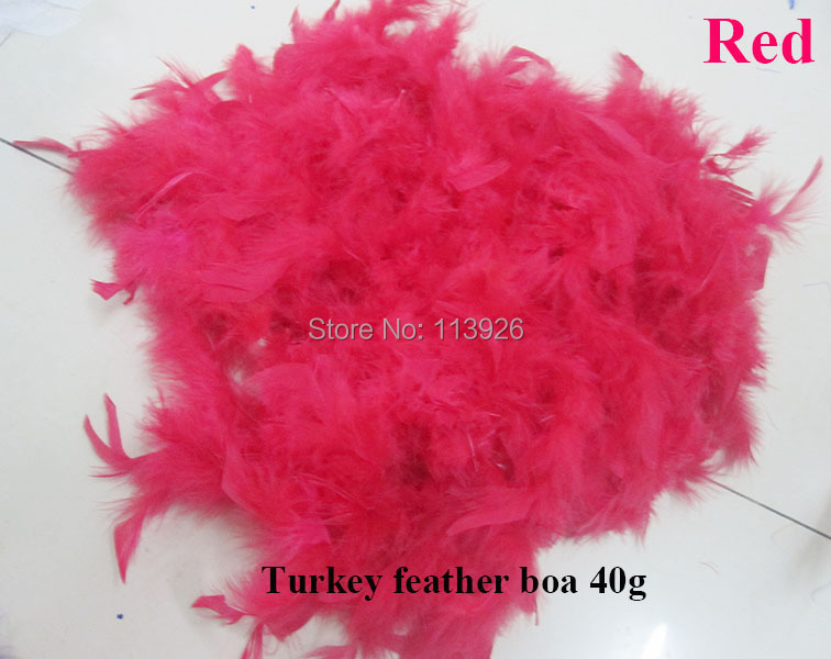 100pcs/lot 40g Marabou boa feathers 2Meters long red turkey feather Boa wholesale craft feathers