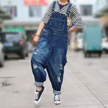 Women Casual Denim Jumpsuits Overalls 2019 Ladies hole Pockets Loose Korean Fashion Jeans Romper Pants Trousers