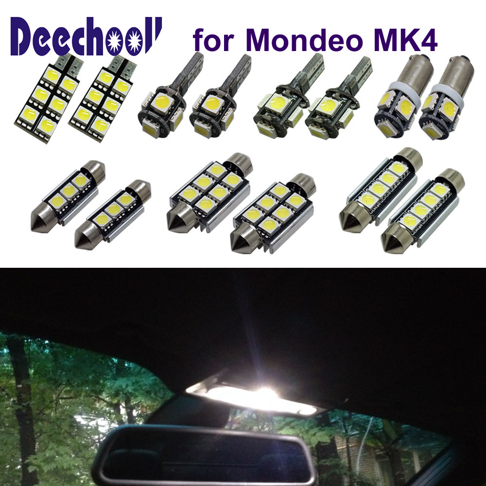 deechooll 12pcs Car LED Bulbs for Ford Mondeo MK4 ,Canbus Interior Lights for ford Dome Reading Lights Xenon White deechooll 2pcs wedge light for mazda 2 3 5 6 mx5 rx8 cx7 626 gf gg ge gw canbus t10 57smd 6w led clearance xenon lighting bulbs