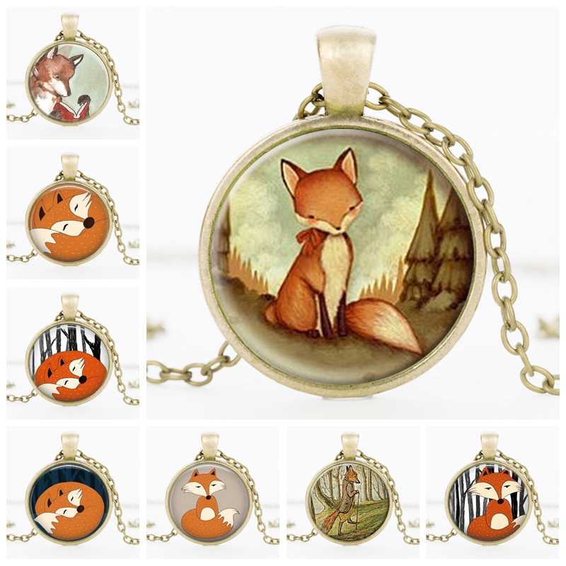 SUTEYI Newest Fox Statement Necklace Creature Watercolor Woodland Glass Cabochon Pendant Women Choker Necklaces DIY Jewelry