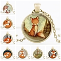 Wholesale jewelr Hot Glass Dome fox collar creature watercolor glass Woodland Art pendant necklace for Sliver statement necklace