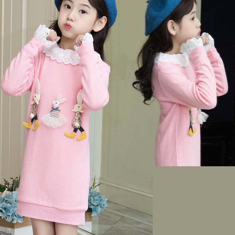 Kids Girls Dress Cotton Long Sleeve Girls Clothing Casual Children Girls Christmas Lace Dress Kerst Jurk 9 10 11 12 13 14 Years