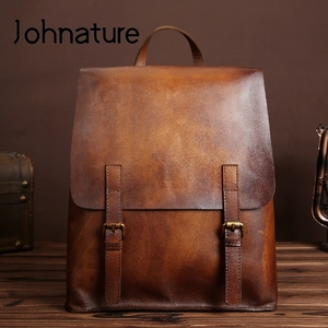Image 1 - Johnature 2020 New Genuine Leather Backpack Women Bag Cow Leather Vintage Solid Color Backpacks Women Fashion Travel Bag