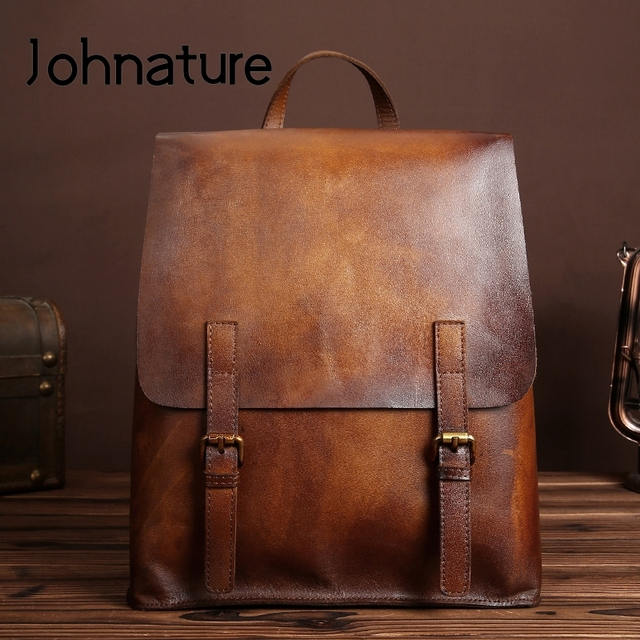 Johnature 2020 New Genuine Leather Backpack Women Bag Cow Leather Vintage Solid Color Backpacks Women Fashion Travel Bag