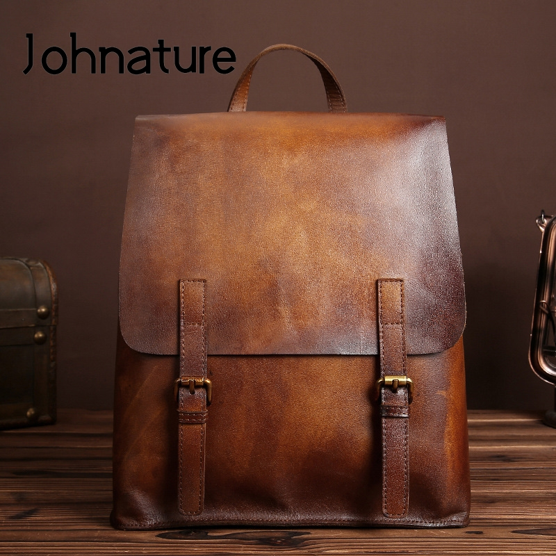 Johnature 2020 New Genuine Leather Cow Leather Vintage Solid Zipper&Hasp Retractable Backpack Women Fashion Travel Bag