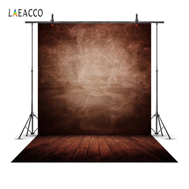 Laeacco Old Solid Gradient Color Wall Wooden Floor Photography Backgrounds Customized Photographic Backdrops For Photo Studio