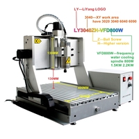 LY CNC 3040 ZH VFD 1.5KW Spindle Motor Wood Router Mini PCB Milling Machine 3 Axis 4 Axis CNC Cutting Drilling Machine