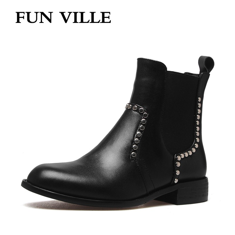 FUN VILLE 2017 New Fashion Winter women Ankle boots Genuine leather chelsea boots Round toe Sexy Ladies shoes slip-on Size 34-42 farvarwo formal retro buckle chelsea boots mens genuine leather flat round toe ankle slip on boot black kanye west winter shoes