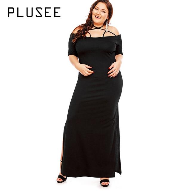 Plusee Plus Size 3xl Dress Women Autumn Black Halter Slash Neck
