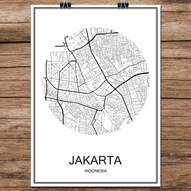 abstract world city street map jakarta indonesia print poster coated paper cafe living room home decoration