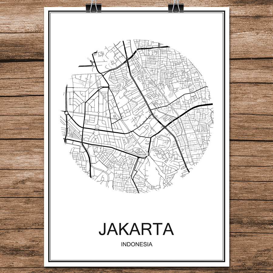 Abstract World City Street Map JAKARTA Indonesia Print Poster Coated Paper Cafe Living Room Home Decoration Wall Sticker 42x30cm