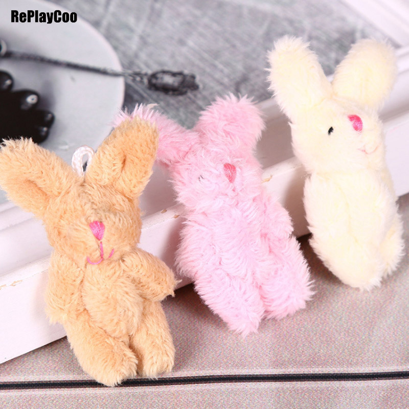 50Pcs/Lot Kawaii Mini Bunny Plush Toys Flower Rabbit Soft Stuffed Animal Toys Small Pendant By Phone Bags Gifts For Wedding 022 image