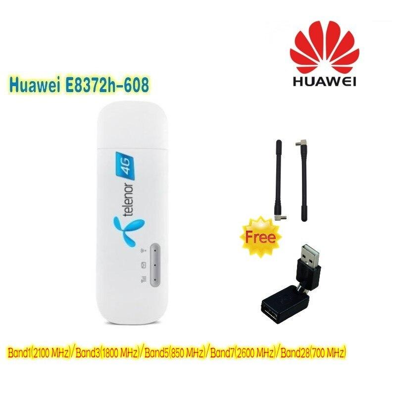 (+ 2 pcs antenne & cadeau gratuit) Débloqué Nouveau Huawei E8372 E8372h-608 4G LTE 150 Mbps Sans Fil USB WiFi Modem