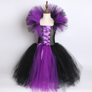 Image 3 - Maleficent Evil Queen Girls Tutu Dress with Horns Halloween Cosplay Witch Costume for Girls Kids Party Dress Children Clothing